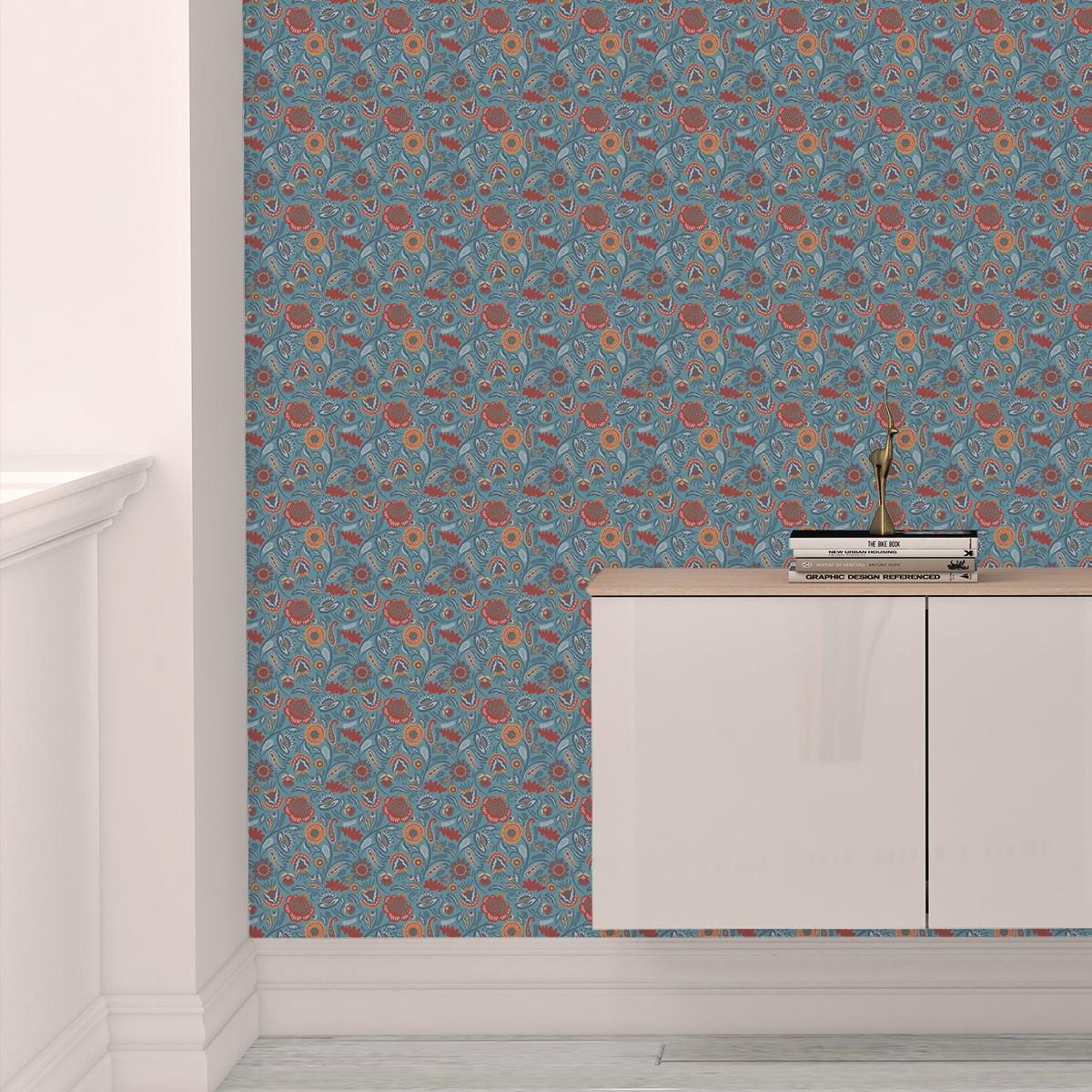 Schlafzimmer tapezieren in mittelblau: Folklore Blumentapete Garten Vintage Stil in hellblau - Vliestapete Blumen für Schlafzimmer