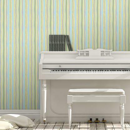 Tapete für Büroräume gelb: lockere Streifen grafisch modern in pastell blau, Streifentapete für Flur, Büro