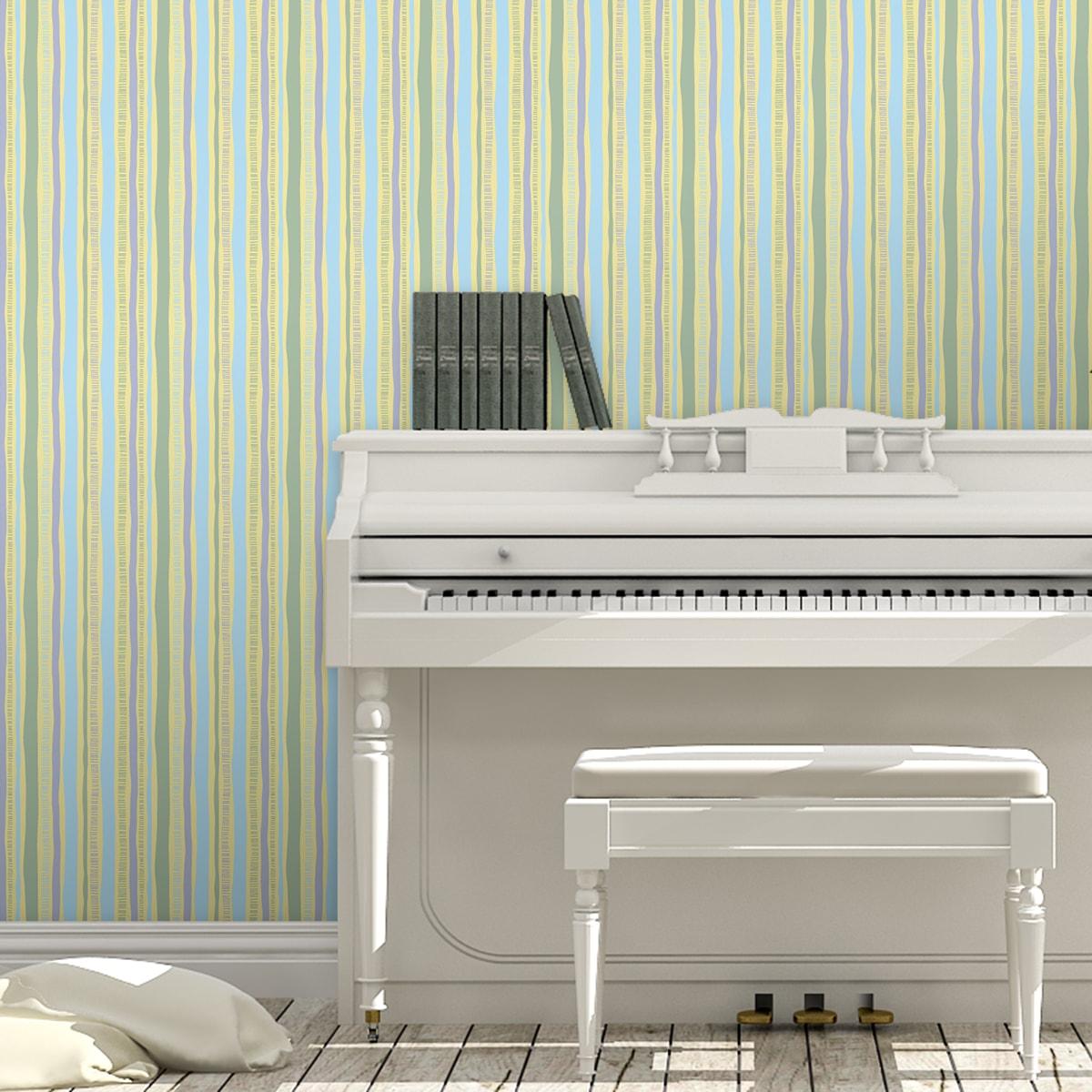 lockere Streifen grafisch modern in pastell blau, Streifentapete für Flur, Büro 2
