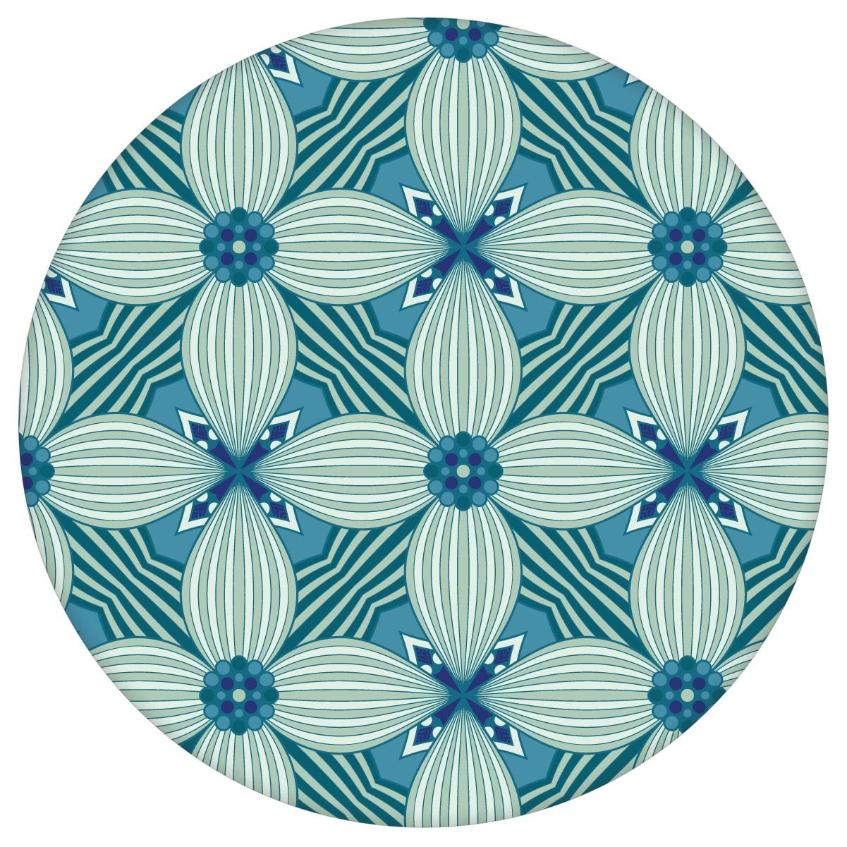 Petrol Ornamenttapete Art Deko Lilly Muster groß - Design Tapete für  Schlafzimmer