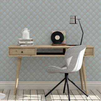 Tapete für Büroräume hellblau: Diamant Design Tapete Art Deko mit grafischer Eleganz in hellblau - Ornamenttapete für Flur, Büro