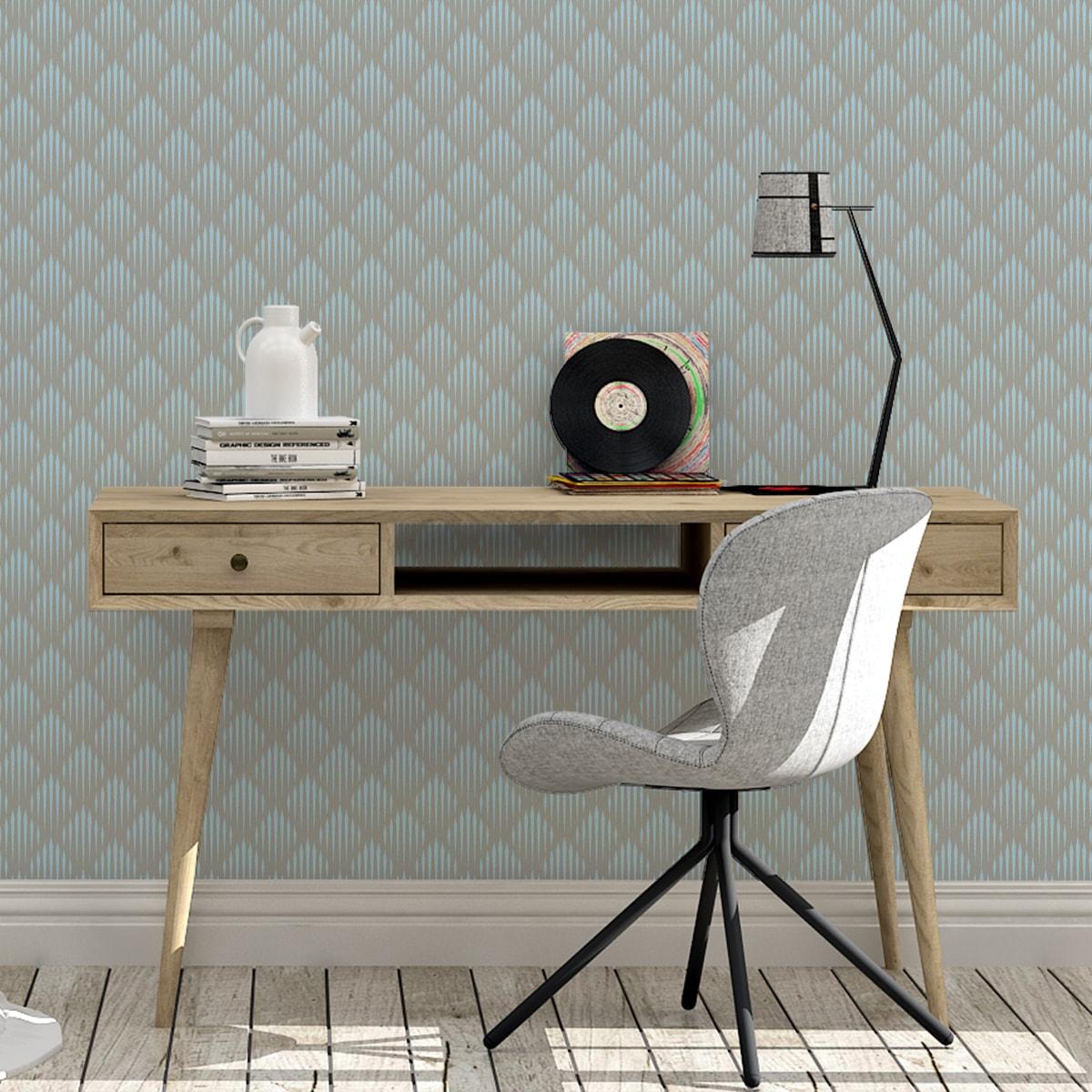 Diamant Design Tapete Art Deko mit grafischer Eleganz in hellblau - Ornamenttapete für Flur, Büro 2