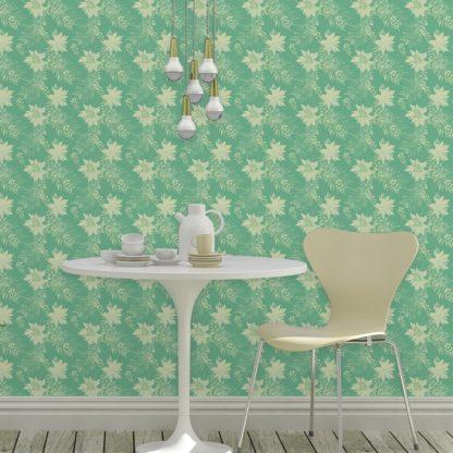 Tapete für Büroräume grün: Wildflowers Blumentapete im Retro Look in grün - florale Tapete für Flur, Büro