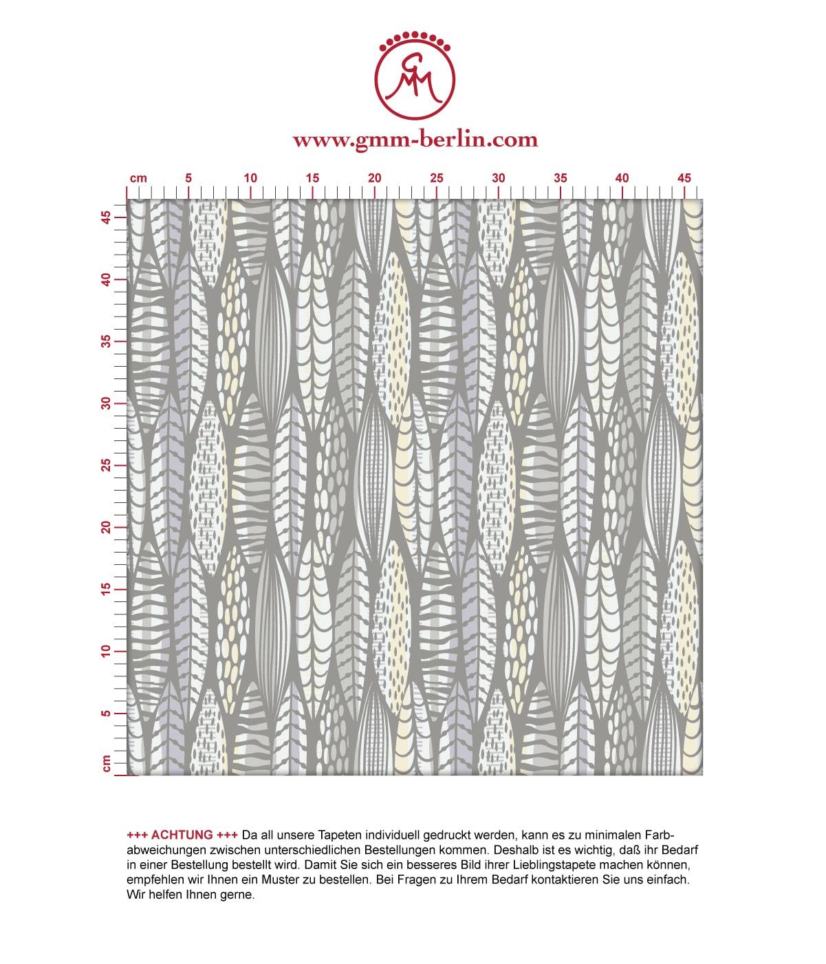 Moderne Tapete Streifen Blätter grafisch floral in grau, Streifentapete für Ihr Zuhause. Aus dem GMM-BERLIN.com Sortiment: Schöne Tapeten in der Farbe: grau