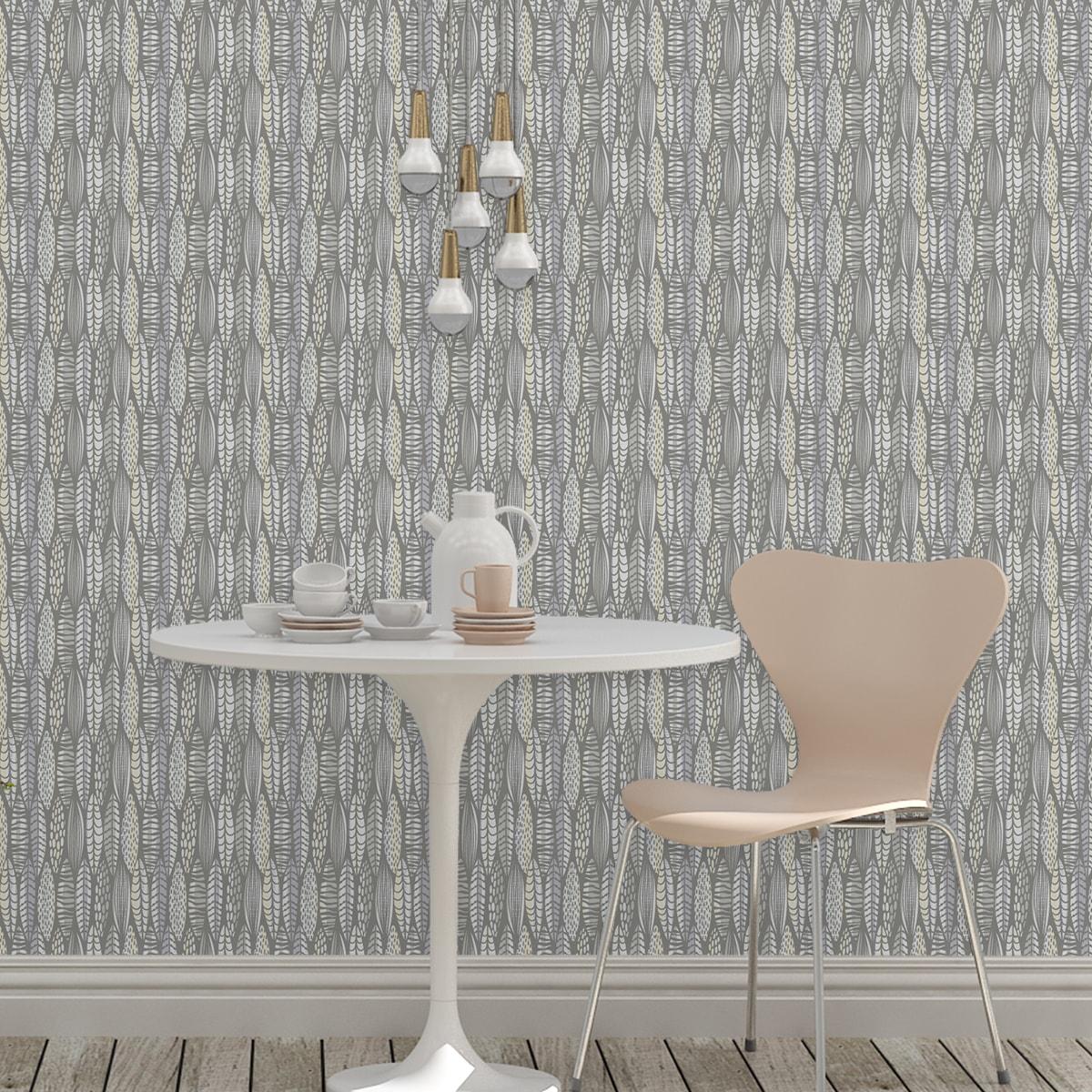 Wandtapete grau: Moderne Tapete Streifen Blätter grafisch floral in grau, Streifentapete für Ihr Zuhause