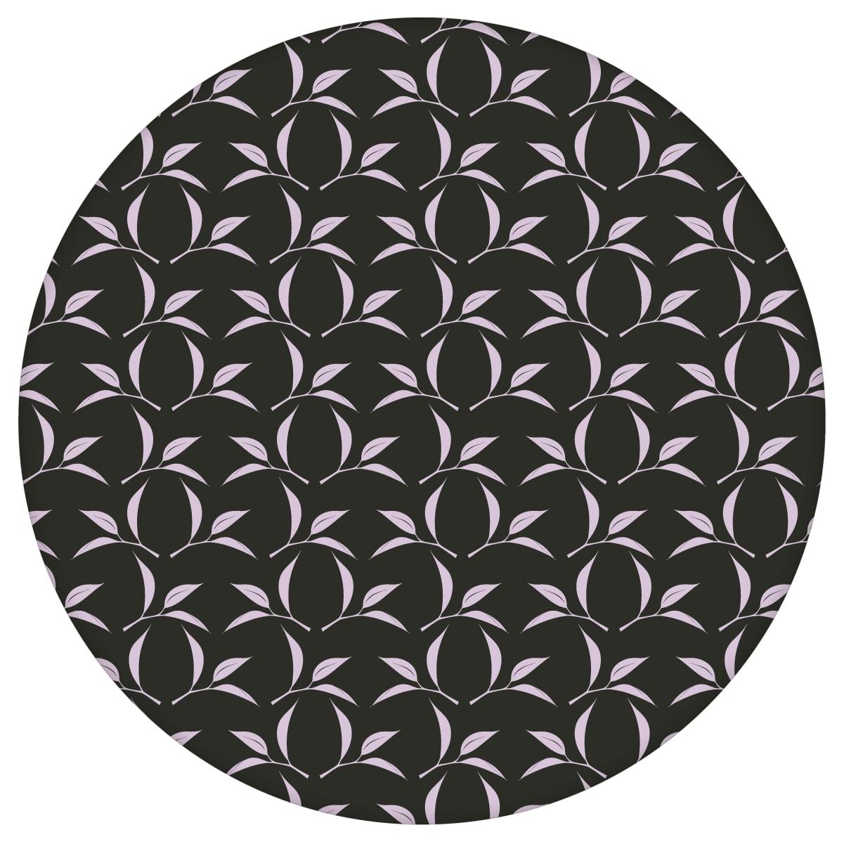 Tee Blatt Ornamenttapete Tea Time in schwarz - Design Tapete für Flur, Büro