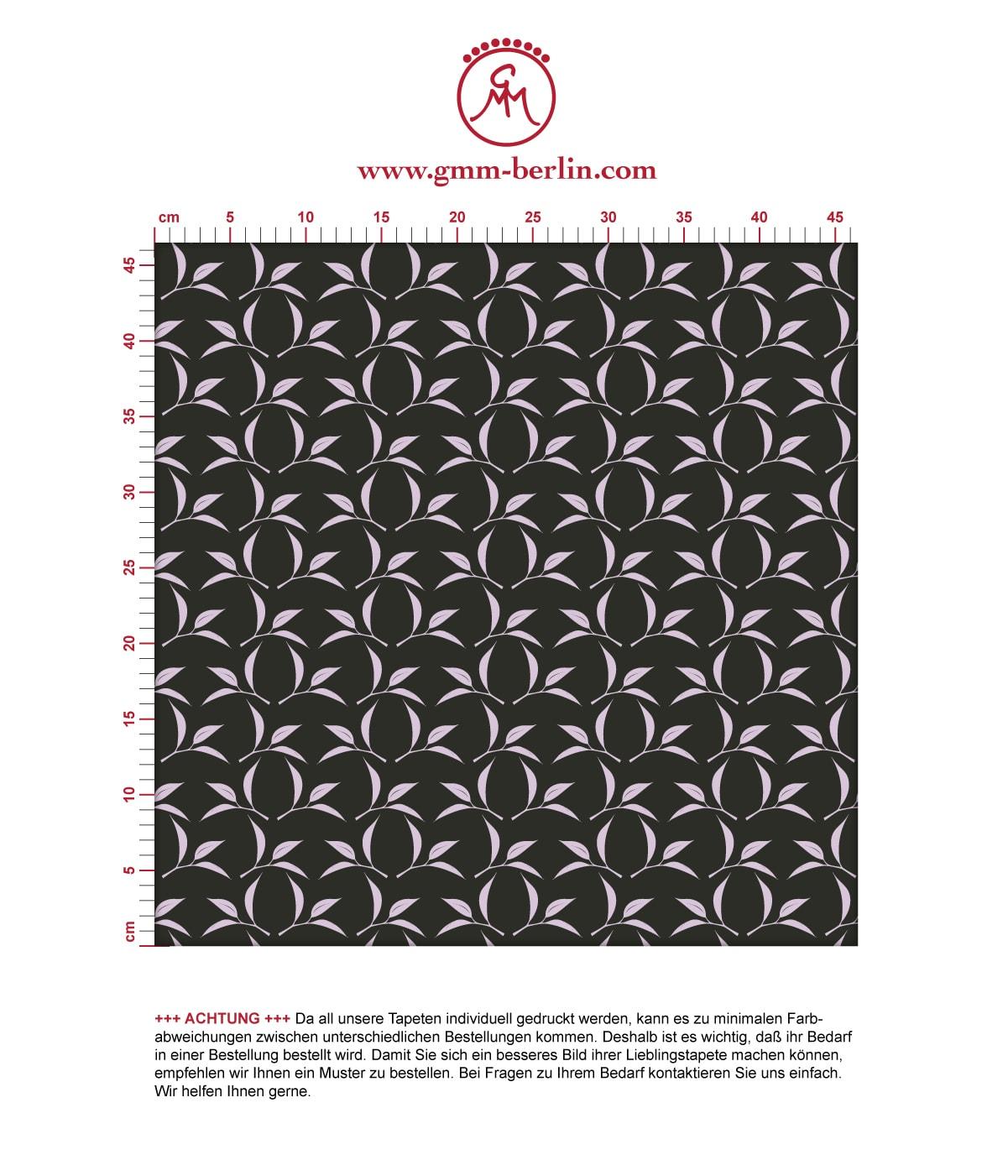 Tee Blatt Ornamenttapete Tea Time in schwarz - Design Tapete für Flur, Büro 3