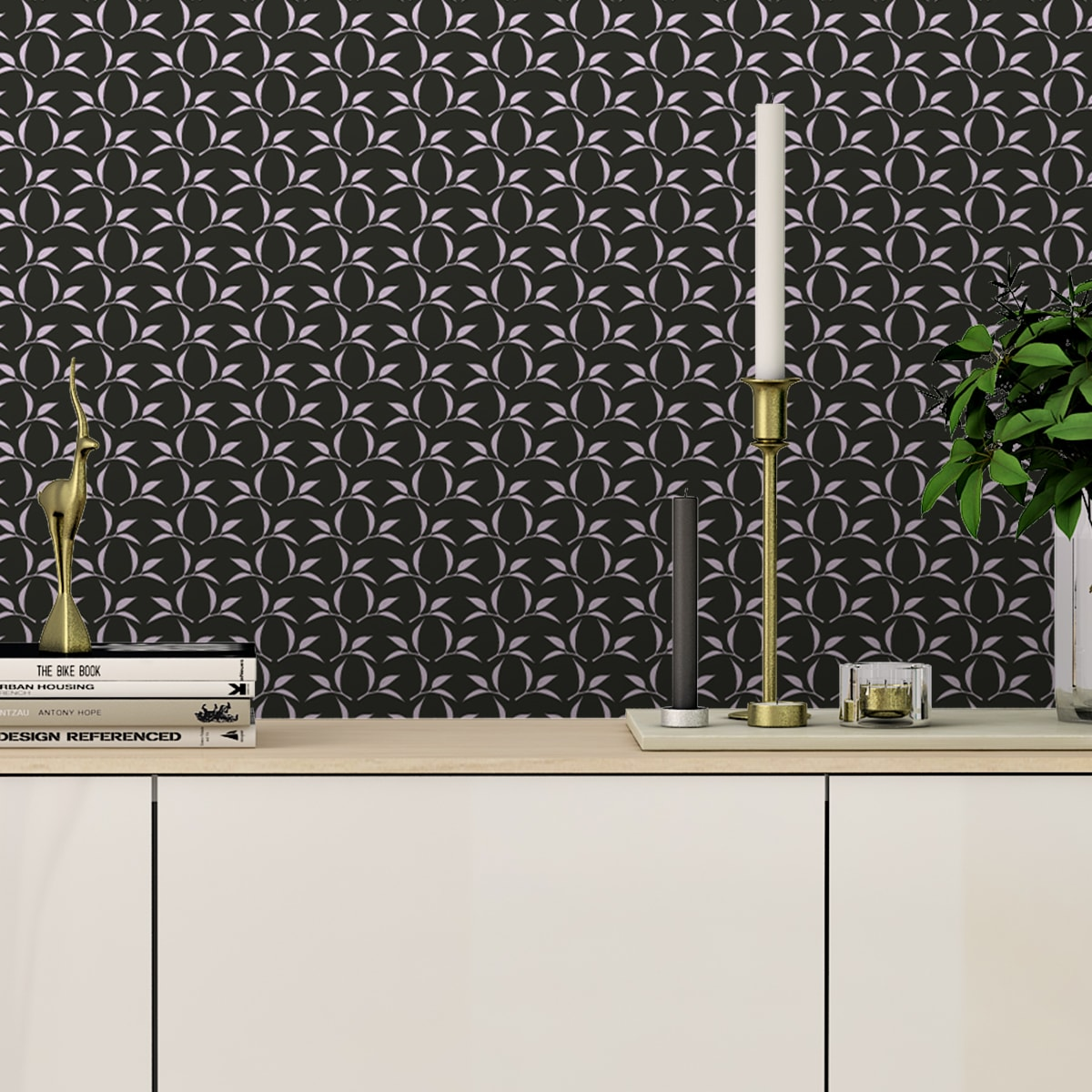 Tee Blatt Ornamenttapete Tea Time in schwarz - Design Tapete für Flur, Büro 2