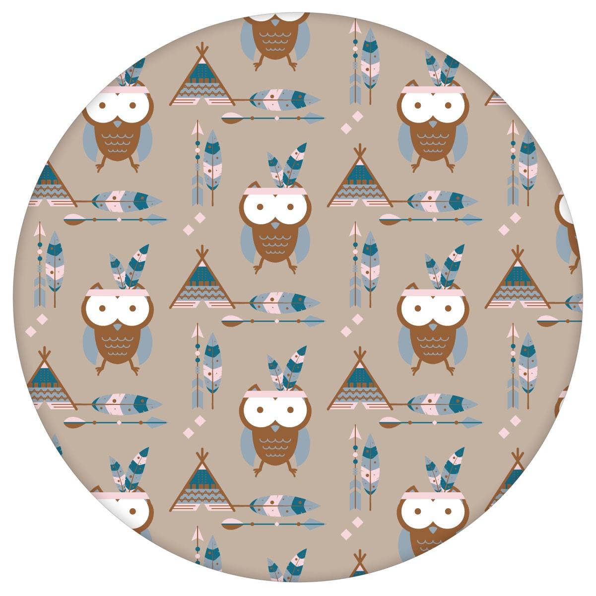 Süße Kindertapete Indianer Eulen mit Federn in braun - Design Tapete für Spielzimmer aus den Tapeten Neuheiten Exklusive Tapete für schönes Wohnen als Naturaltouch Luxus Vliestapete oder Basic Vliestapete