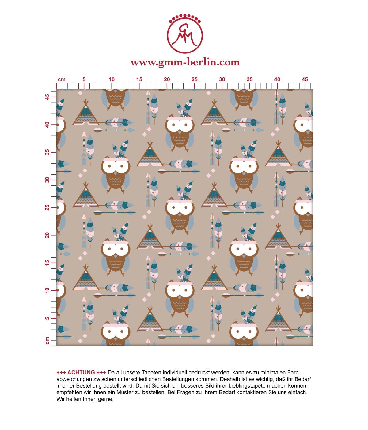 Süße Kindertapete Indianer Eulen mit Federn in braun - Design Tapete für Spielzimmer 3