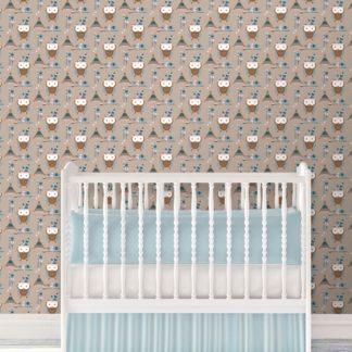 Wandtapete braun: Süße Kindertapete Indianer Eulen mit Federn in braun - Design Tapete für Spielzimmer