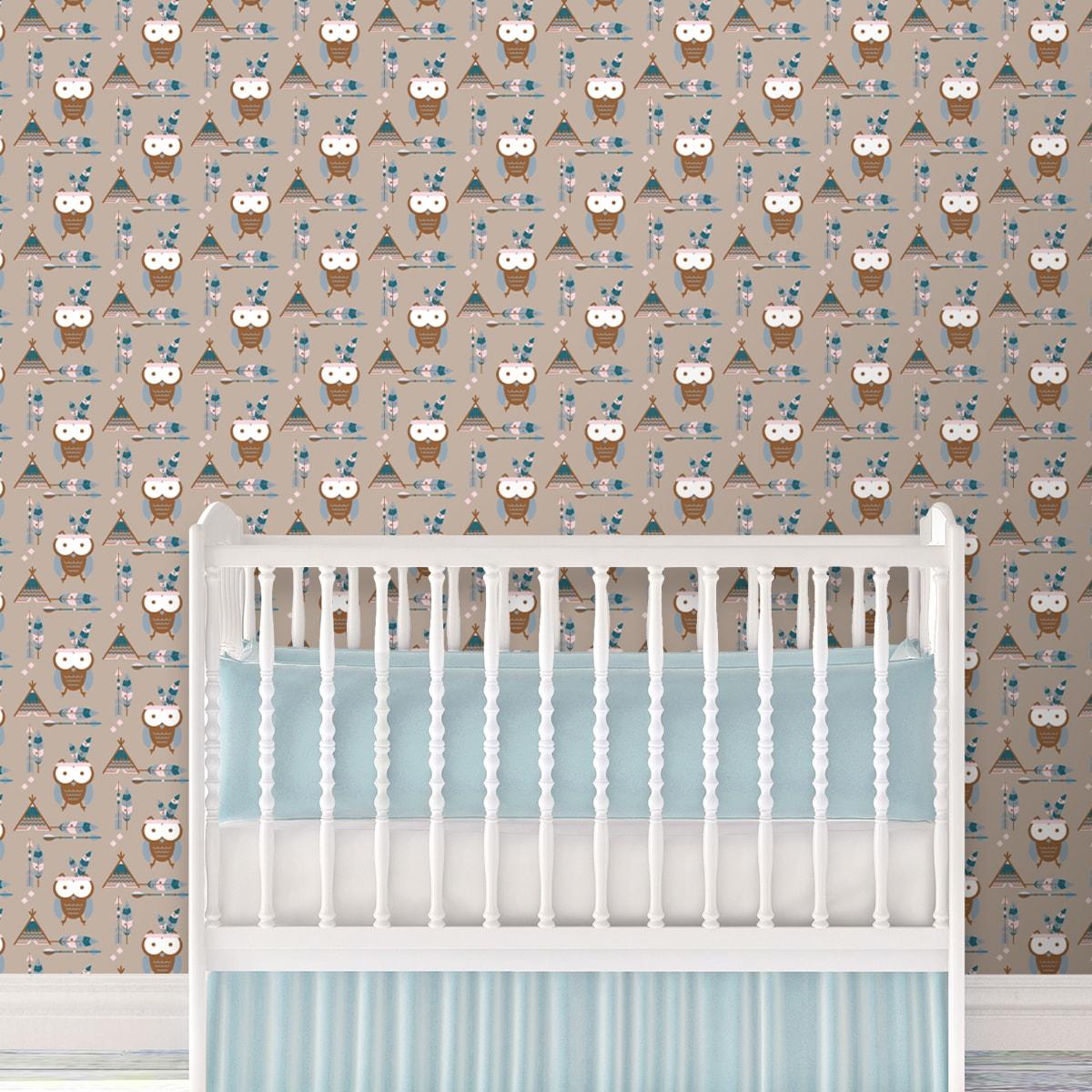 Süße Kindertapete Indianer Eulen mit Federn in braun - Design Tapete für Spielzimmer 2
