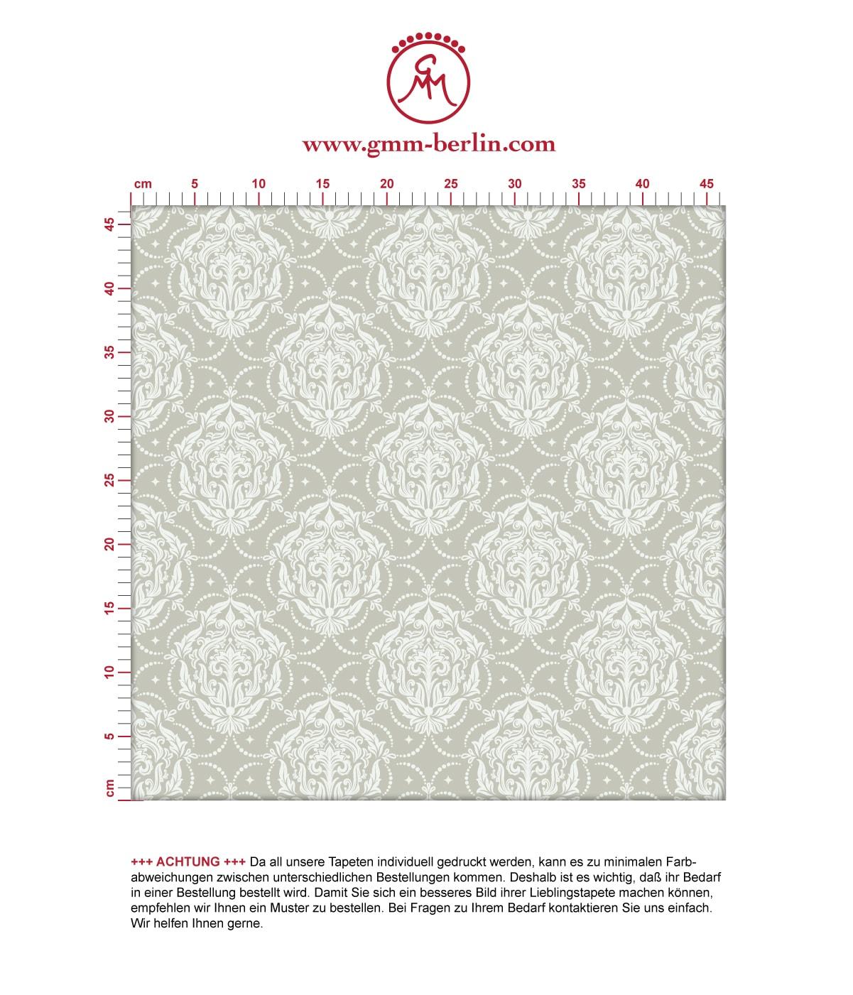 Graue Ornamenttapete My Castle Damast Muster - Design Tapete für Flur, Büro. Aus dem GMM-BERLIN.com Sortiment: Schöne Tapeten in weiss