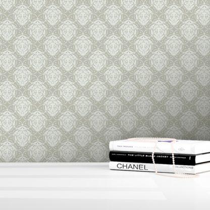 Tapete für Büroräume weiss: Graue Ornamenttapete My Castle Damast Muster - Design Tapete für Flur, Büro