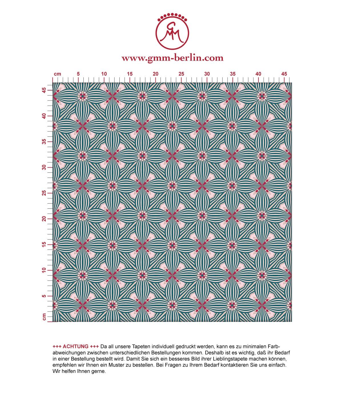 Art Deko Ornamenttapete Lilly Retro Muster in rosa - Design Tapete für Flur, Büro. Aus dem GMM-BERLIN.com Sortiment: Schöne Tapeten in der Farbe: rosa