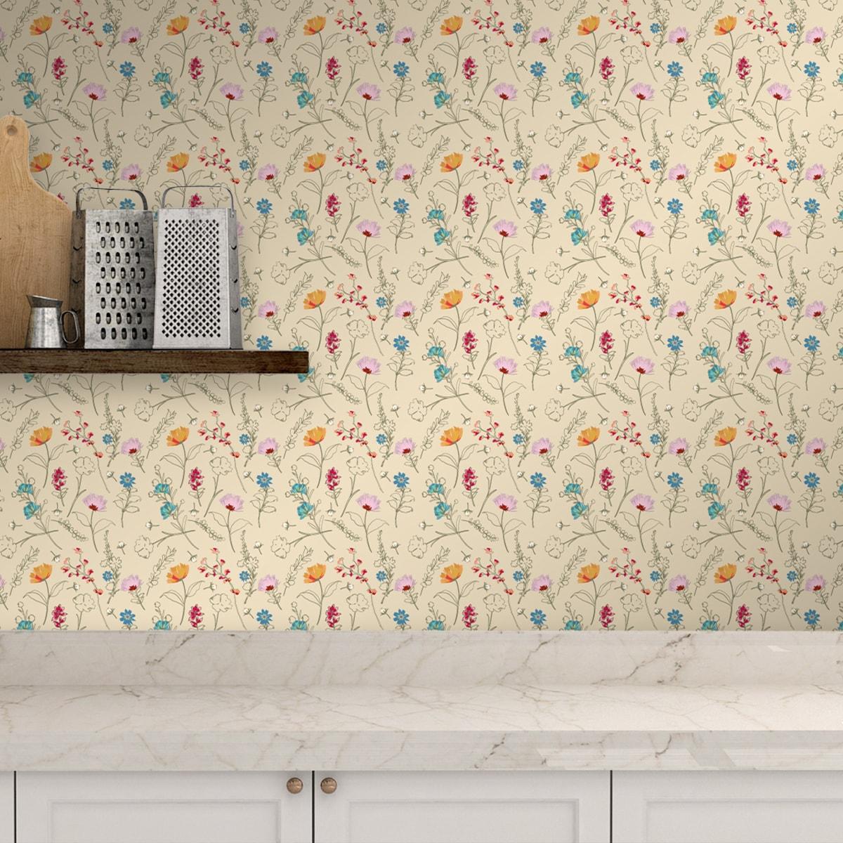 Tapete für Büroräume creme: Spring in the air Blumentapete für Frühlings Gefühle in vanille - Design Tapete für Flur, Büro
