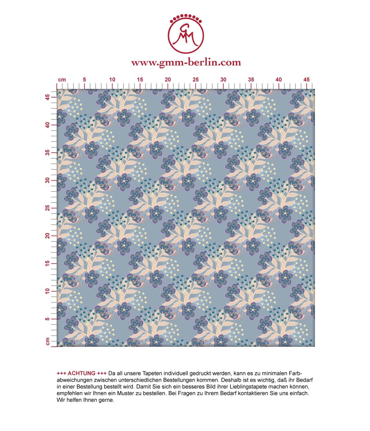 Blaue Blumentapete Classic Bouquet Blümchen Tapete - Nostalgietapete für Flur, Büro. Aus dem GMM-BERLIN.com Sortiment: Schöne Tapeten in der Farbe: mittelblau