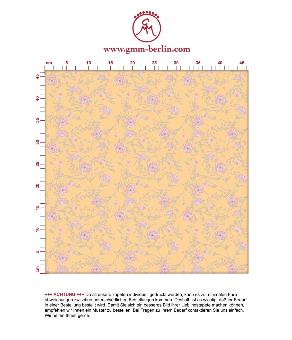Printemps Blumentapete mit zarten Ranken in gelb - Nostalgietapete für Flur, Büro. Aus dem GMM-BERLIN.com Sortiment: Schöne Tapeten in der Farbe: gelb