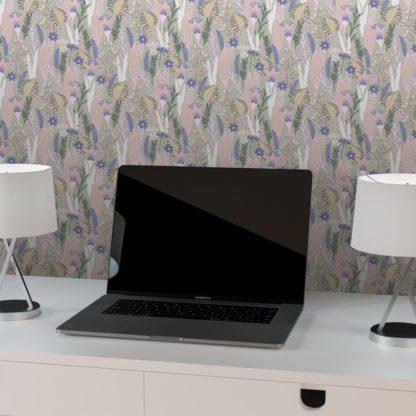 Tapete für Büroräume rosa: Wellness Blumentapete Der naive Garten in rosa grün - Design Tapete für Flur, Büro