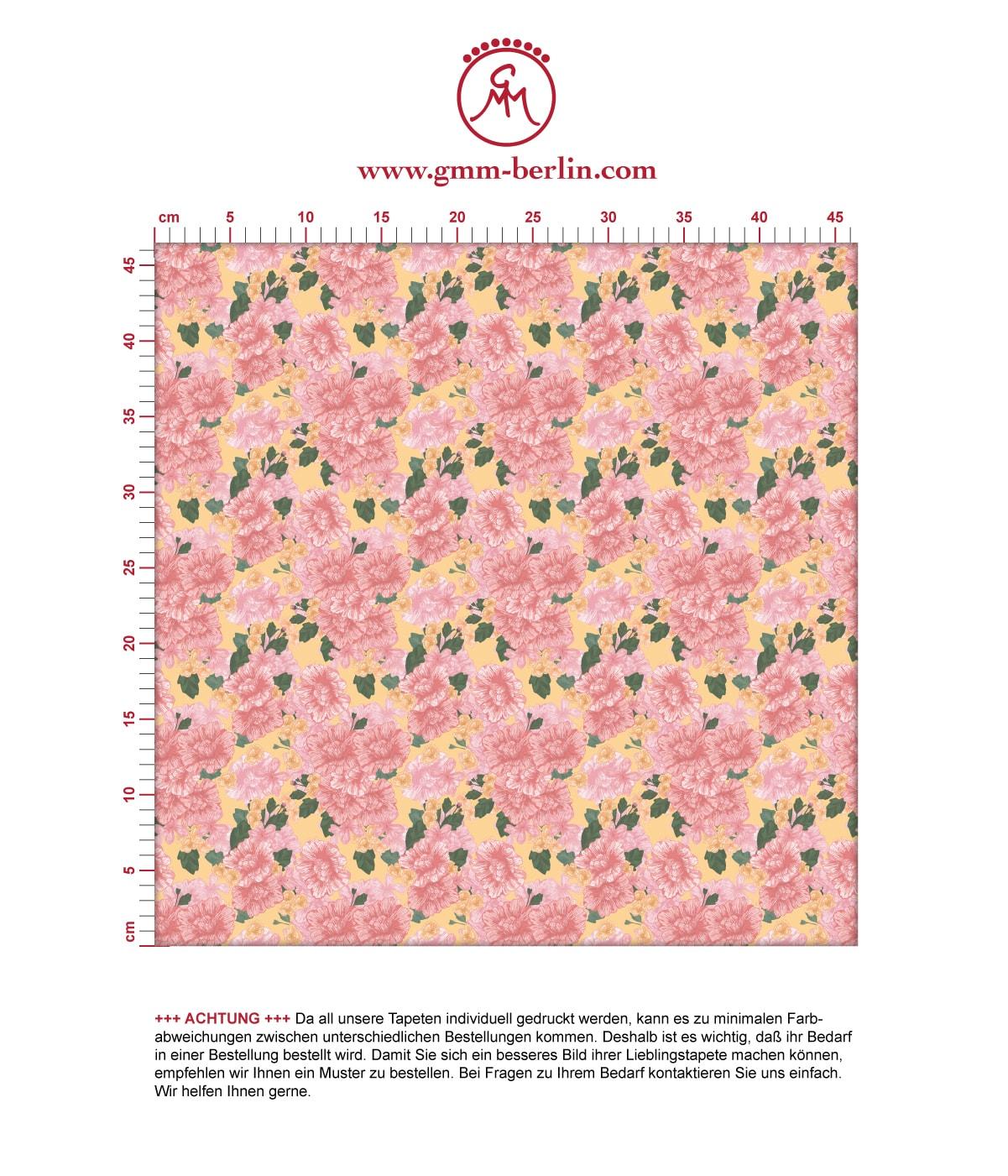 shabby chic Blumentapete Shabby Flowers Landhaus in gelb - Vliestapete für Flur, Büro 3