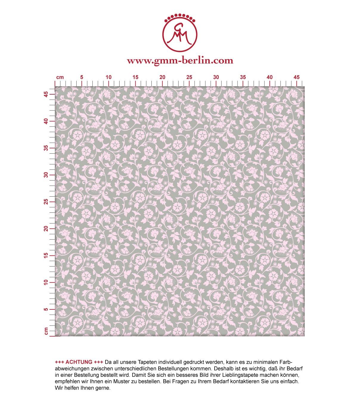 Ranken Ornamenttapete Kemenaten Zauber mit Blumen in grau - Nostalgietapete für Flur, Büro. Aus dem GMM-BERLIN.com Sortiment: Schöne Tapeten in der Farbe: hell rosa