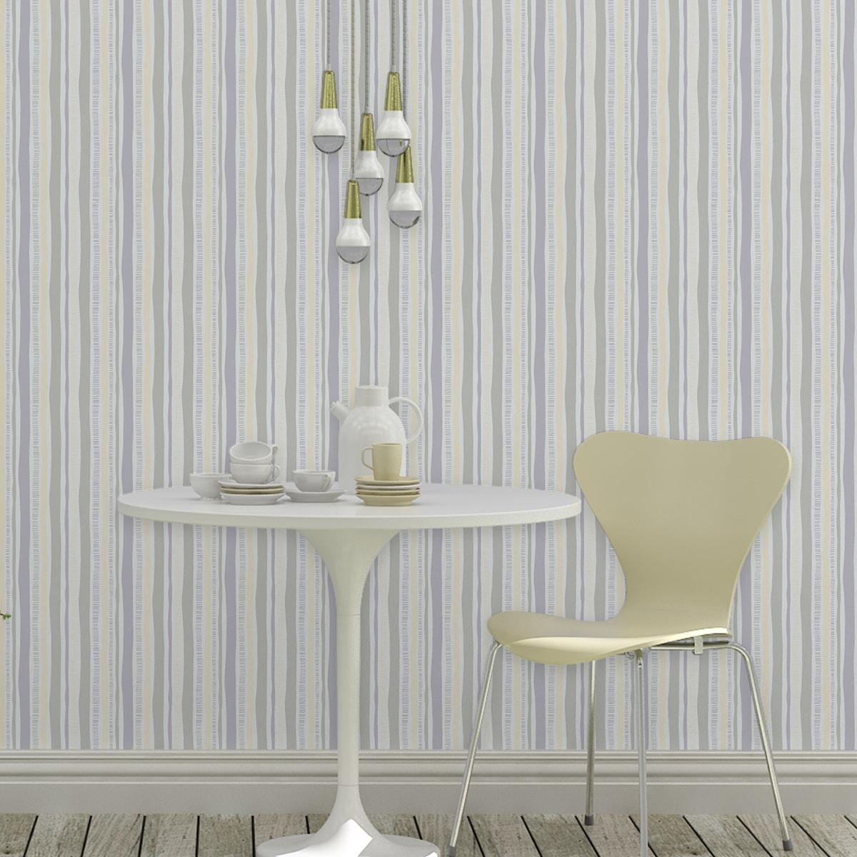 Wandtapete grau: Tapete lockere Streifen grafisch modern in pastell grau, Streifentapete als Wandgestaltung