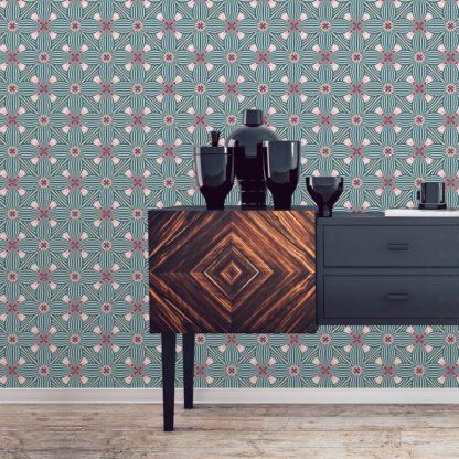 Tapete für Büroräume rosa: Retro Ornamenttapete Art Deko Lilly Muster groß in pink - Design Tapete für Flur, Büro