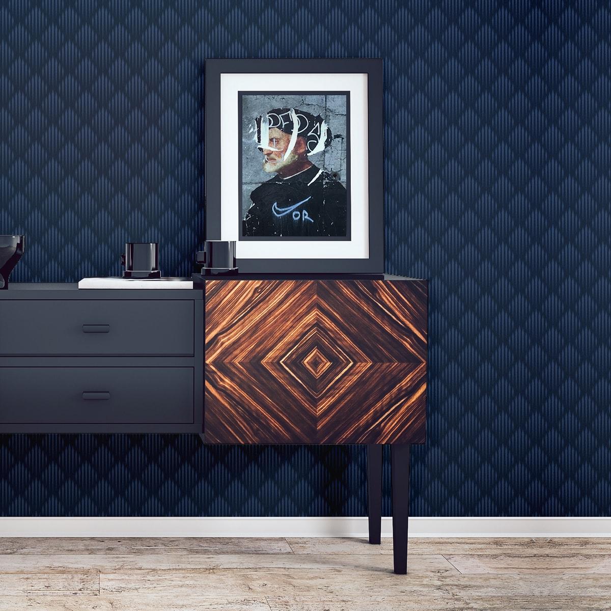 Elegante Design Tapete Art Deko Diamant in dunkelblau, Ornamenttapete für Ihr Zuhause 1