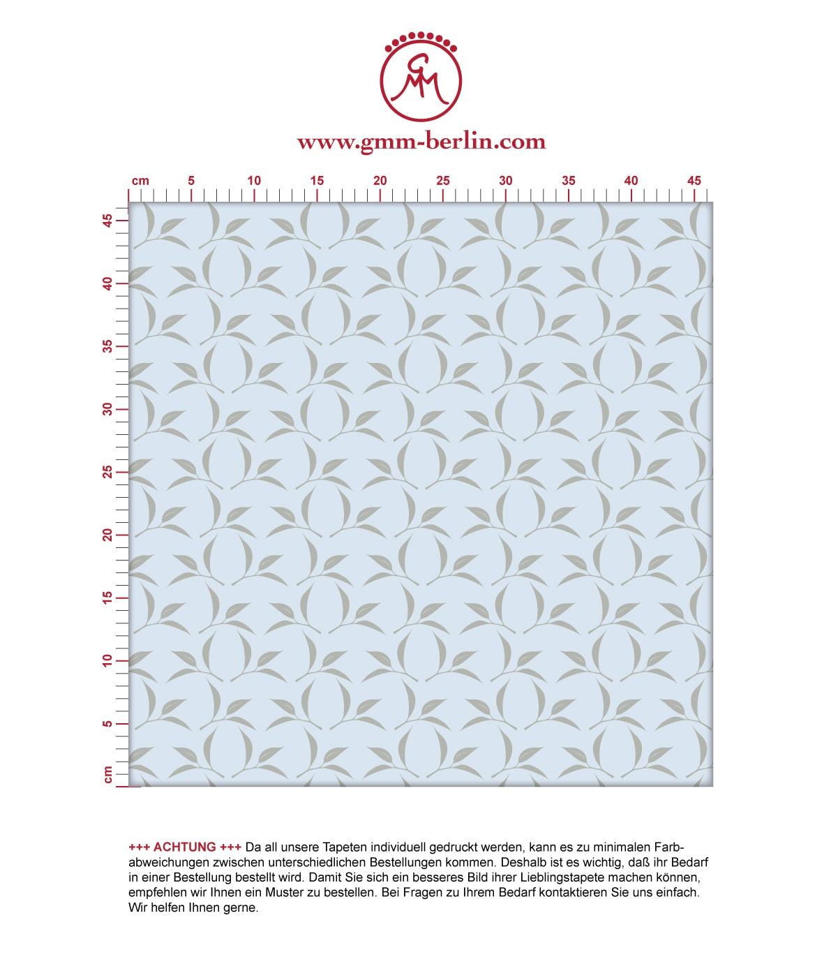 Ornament Tapete Tea Time mit Tee Blättern in grau, Design Tapete für Ihr Zuhause. Aus dem GMM-BERLIN.com Sortiment: Schöne Tapeten in der Farbe: hellblau