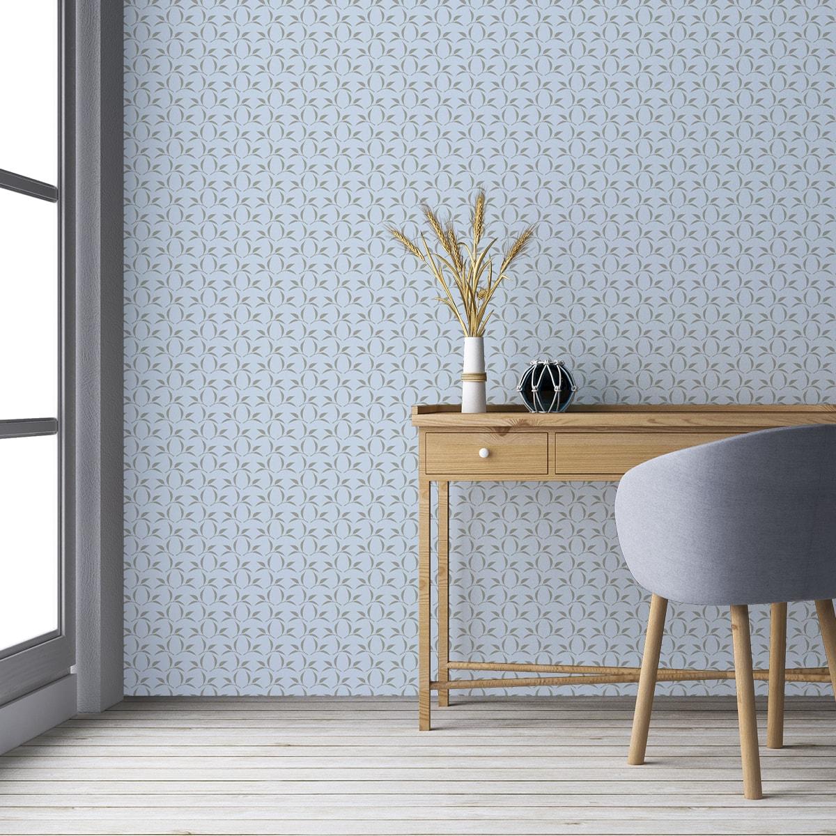 Wandtapete hellblau: Ornament Tapete Tea Time mit Tee Blättern in grau, Design Tapete für Ihr Zuhause