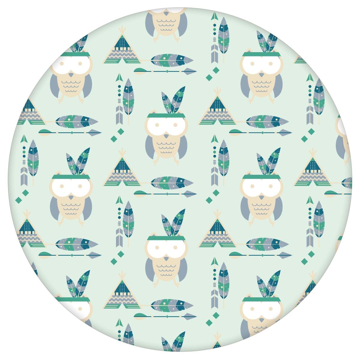 Schöne Kindertapete Indianer Eulen mit Federn in mint, Design Tapete für Babyzimmer aus den Tapeten Neuheiten Exklusive Tapete für schönes Wohnen als Naturaltouch Luxus Vliestapete oder Basic Vliestapete