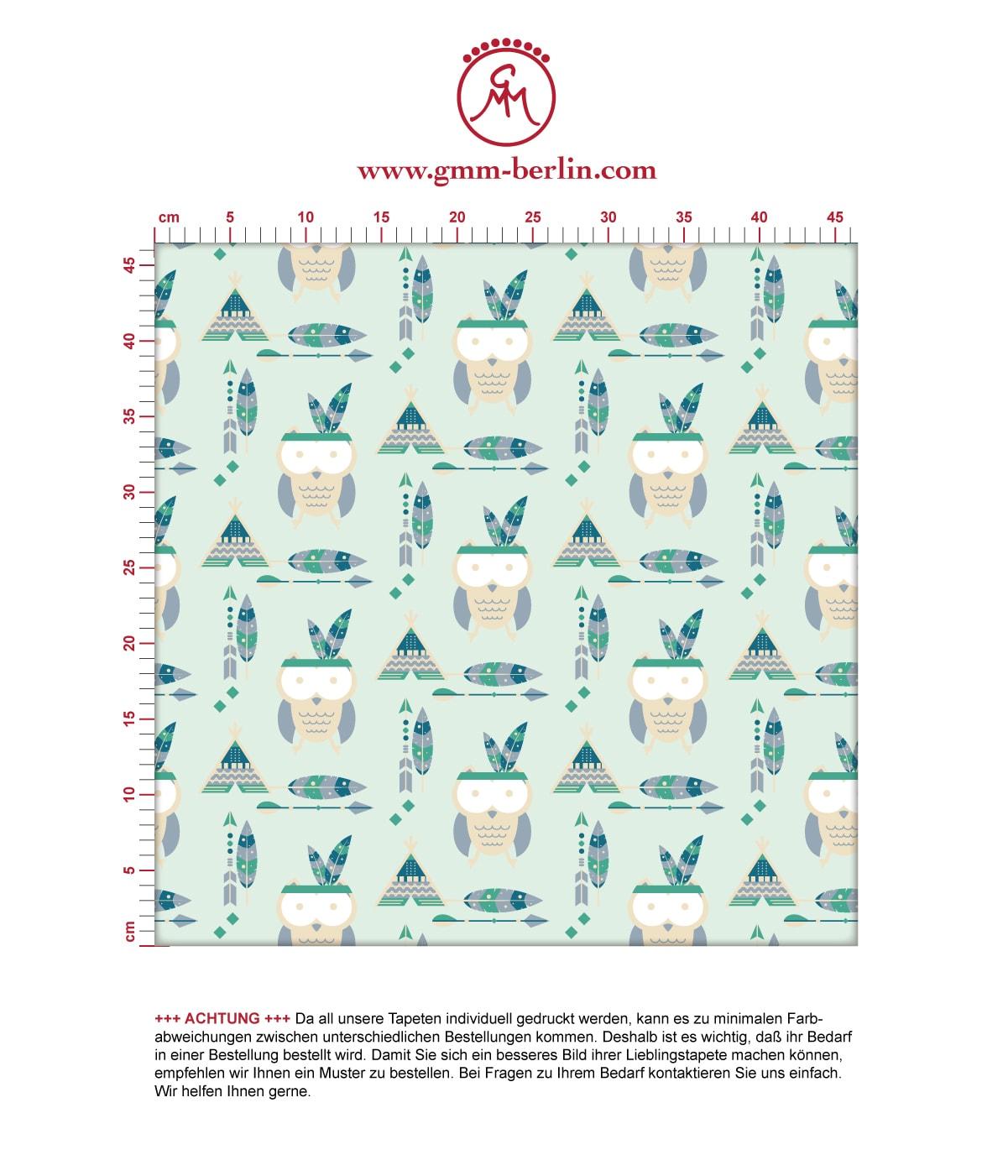 Schöne Kindertapete Indianer Eulen mit Federn in mint, Design Tapete für Babyzimmer. Aus dem GMM-BERLIN.com Sortiment: Schöne Tapeten in der Farbe: grün