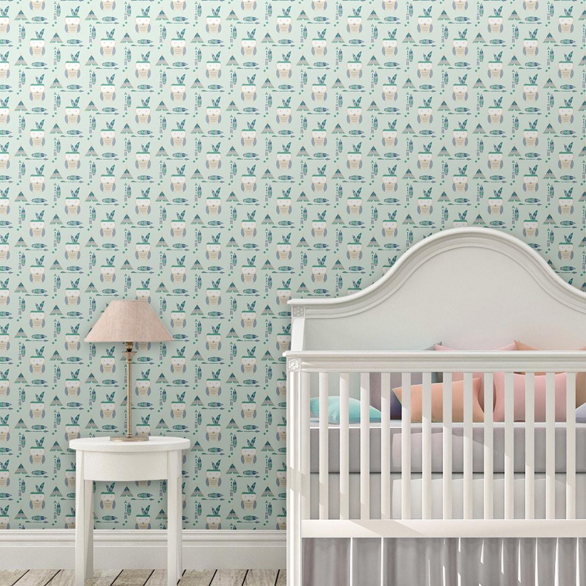 Wandtapete grün: Schöne Kindertapete Indianer Eulen mit Federn in mint, Design Tapete für Babyzimmer