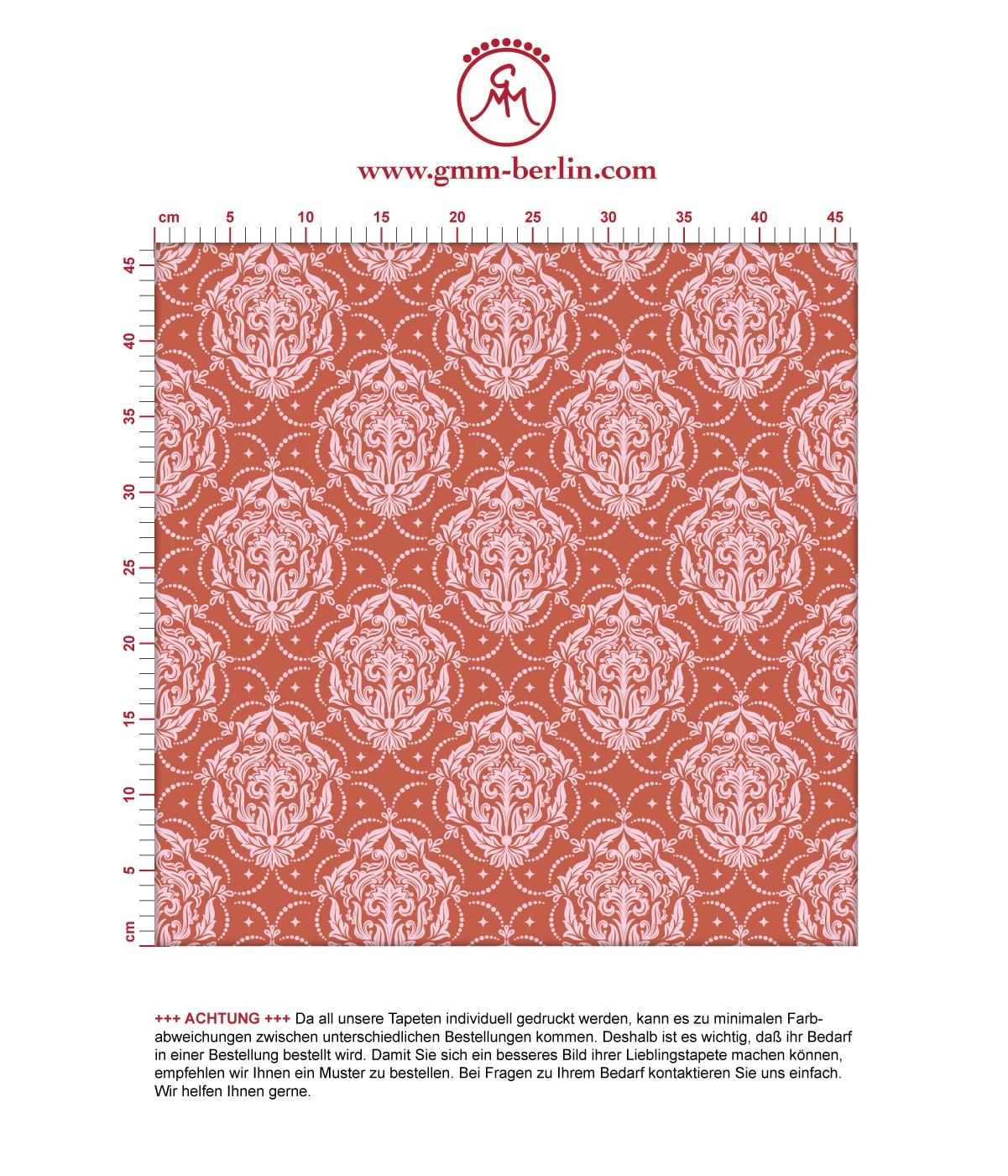 Ornamenttapete My Castle Damast Muster in rot braun, Design Tapete für Ihr Zuhause 3