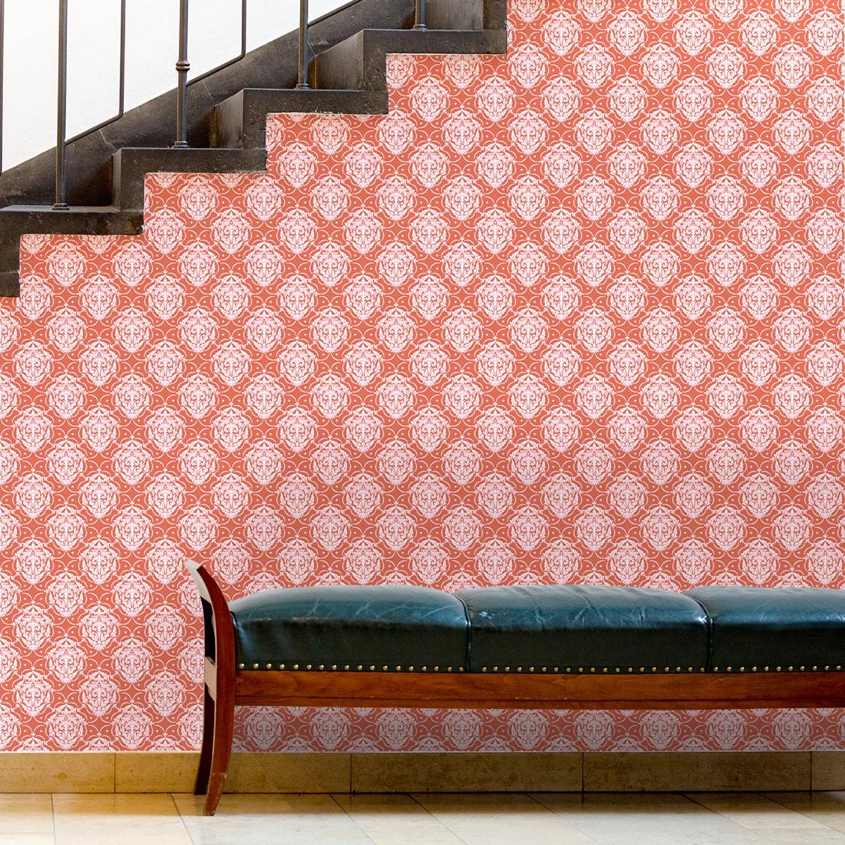 Wandtapete braun: Ornamenttapete My Castle Damast Muster in rot braun, Design Tapete für Ihr Zuhause
