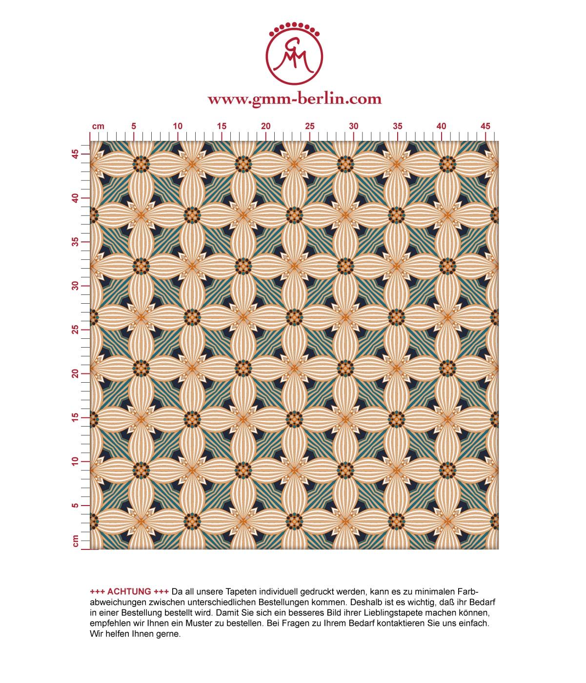 Ornamenttapete Art Deko Lilly Retro Muster in beige, Design Tapete für Ihr Zuhause 3