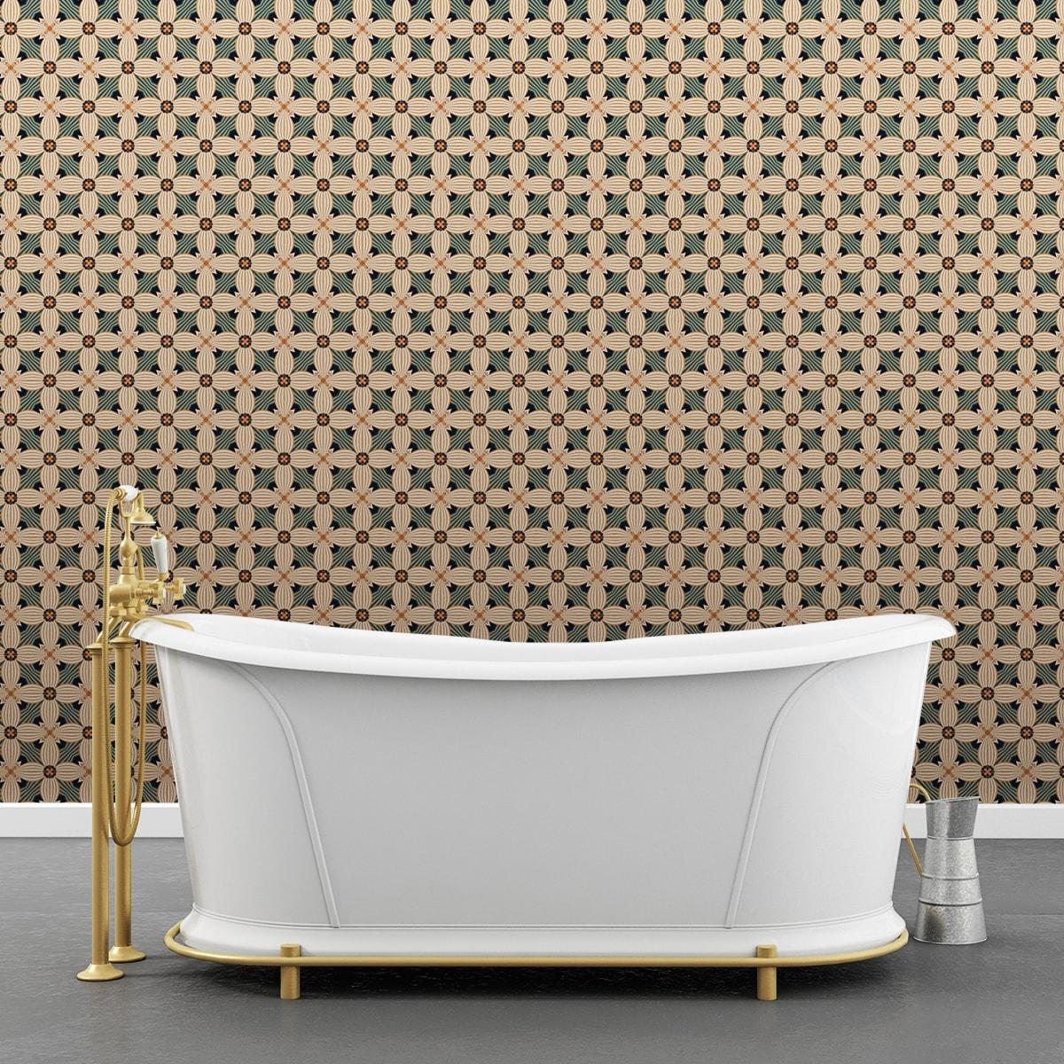 Wandtapete creme: Ornamenttapete Art Deko Lilly Retro Muster in beige, Design Tapete für Ihr Zuhause
