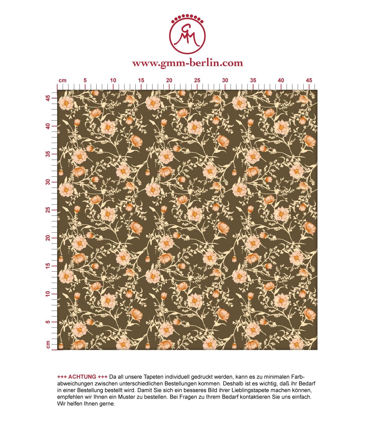 Edle Blumentapete Printemps mit zarten Ranken in braun, Nostalgietapete für Ihr Zuhause. Aus dem GMM-BERLIN.com Sortiment: Schöne Tapeten in der Farbe: braun