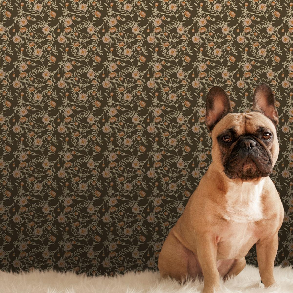 Wandtapete braun: Edle Blumentapete Printemps mit zarten Ranken in braun, Nostalgietapete für Ihr Zuhause
