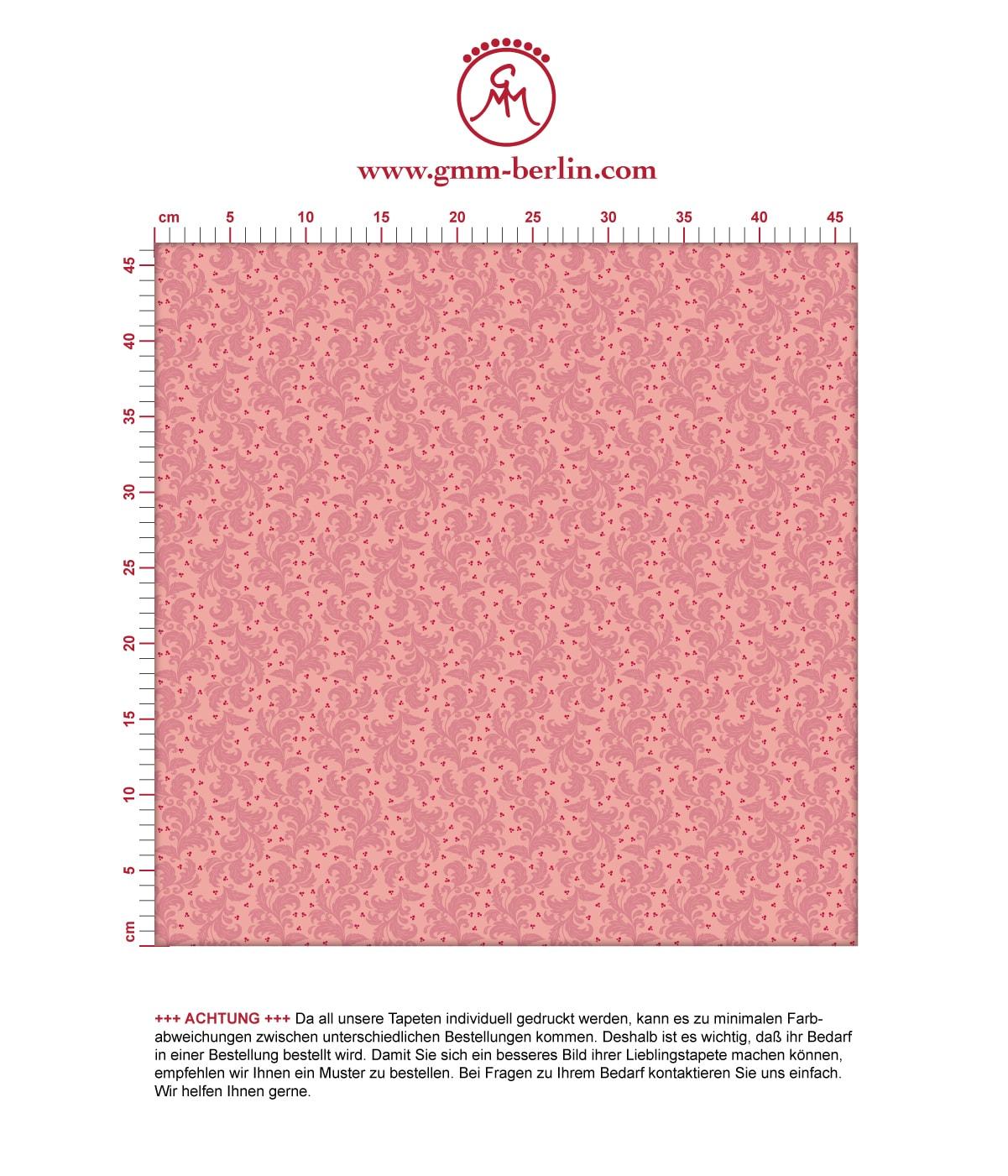 Rosa Nostalgie Ornamenttapete Ranken mit Blatt Muster, Vlies Tapete Ornamente für Ihr Zuhause 3