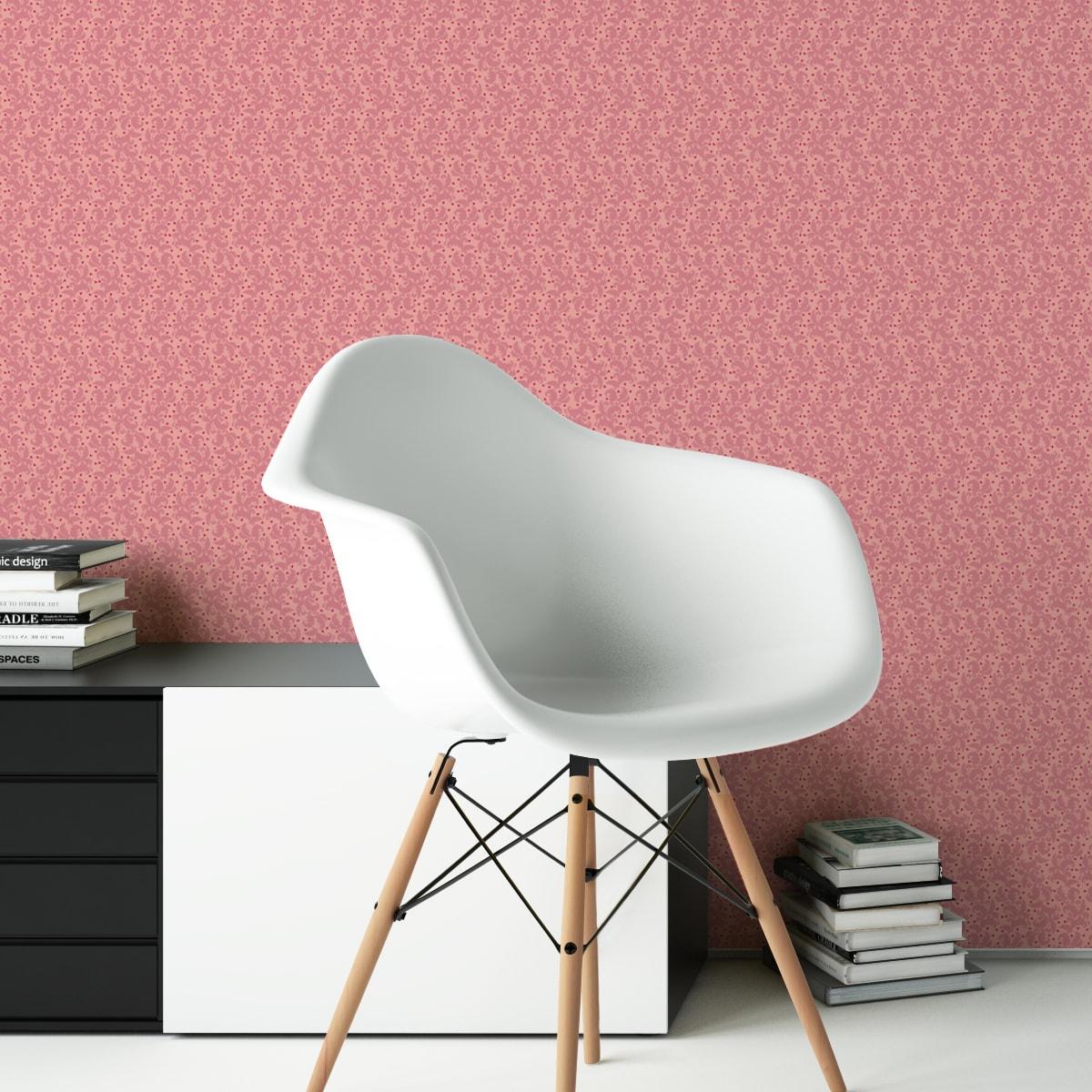 Wandtapete rosa: Rosa Nostalgie Ornamenttapete Ranken mit Blatt Muster, Vlies Tapete Ornamente für Ihr Zuhause