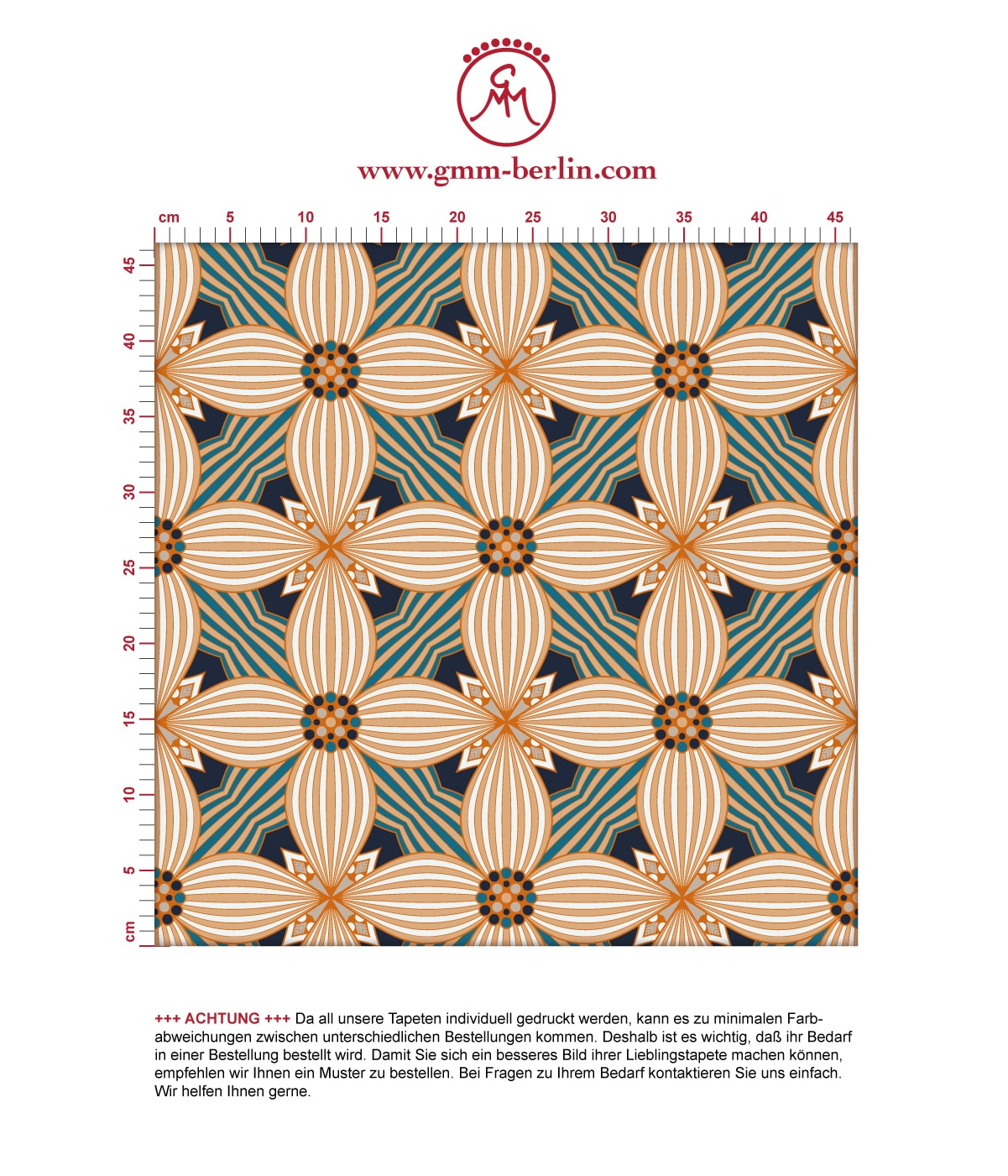 Ornamenttapete Muster groß Art Deko Lilly in beige gelb, Design Tapete für Ihr Zuhause 3