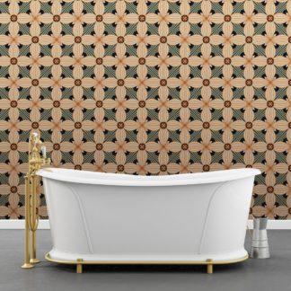 Ornamenttapete Muster groß Art Deko Lilly in beige gelb, Design Tapete für Ihr Zuhause