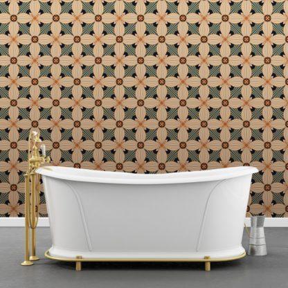 Wandtapete creme: Ornamenttapete Muster groß Art Deko Lilly in beige gelb, Design Tapete für Ihr Zuhause