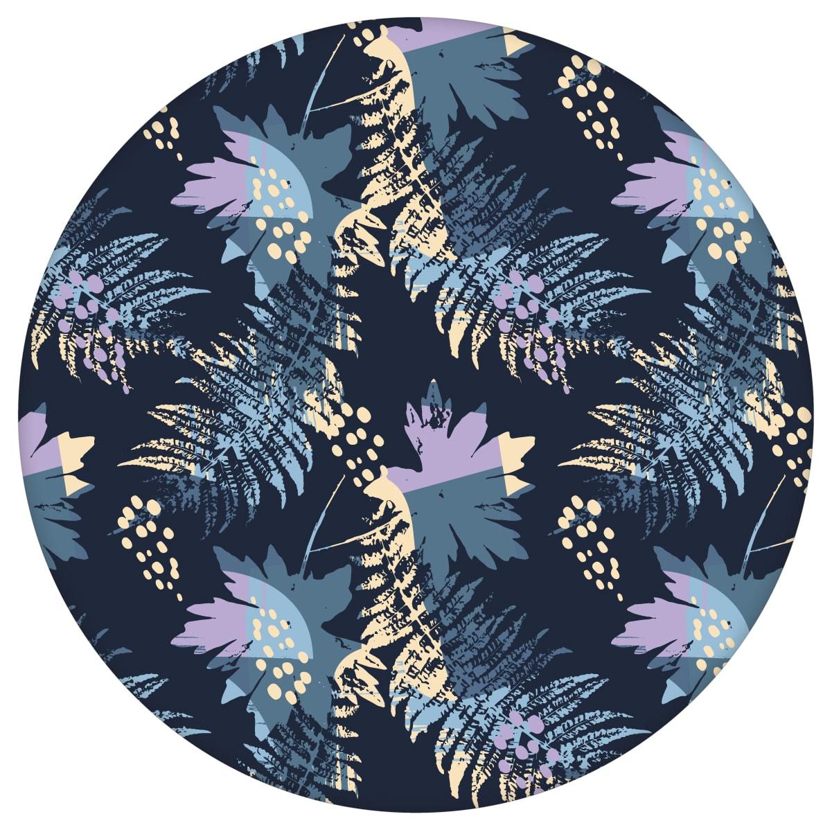 Dunkelblaue Blumentapete Wildflowers im Retro Look, florale Tapete als Wandgestaltung