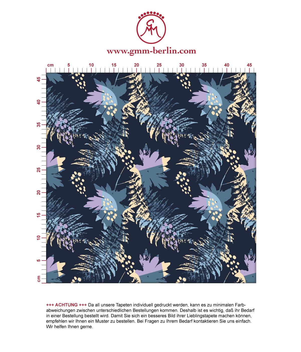 Dunkelblaue Blumentapete Wildflowers im Retro Look, florale Tapete als Wandgestaltung. Aus dem GMM-BERLIN.com Sortiment: Schöne Tapeten in der Farbe: dunkel blau
