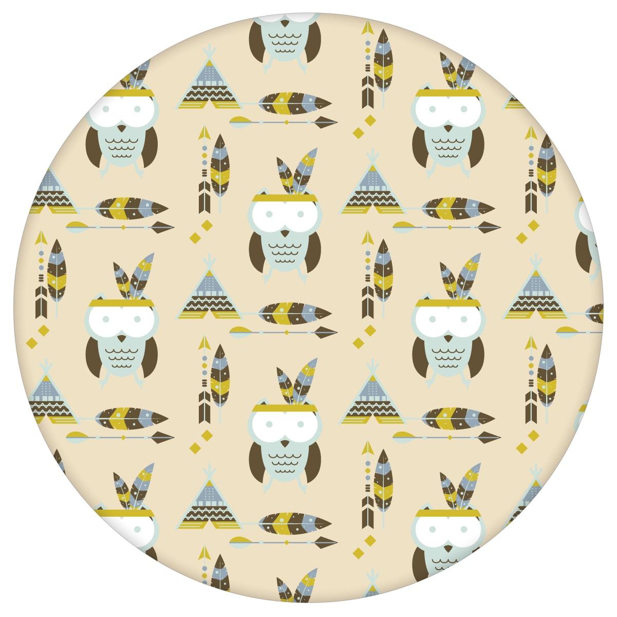 Indianer Kindertapete Eulen mit Federn in pastell beige, Design Tapete für Kinderzimmer aus den Tapeten Neuheiten Exklusive Tapete für schönes Wohnen als Naturaltouch Luxus Vliestapete oder Basic Vliestapete