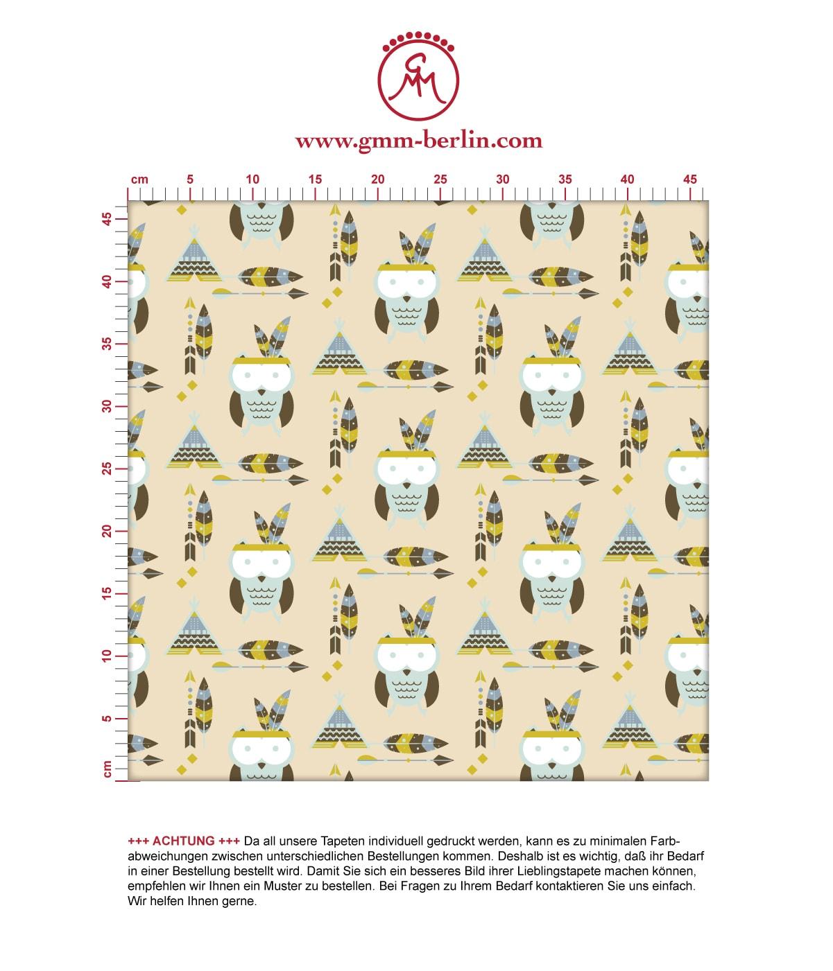 Indianer Kindertapete Eulen mit Federn in pastell beige, Design Tapete für Kinderzimmer 3