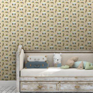 Kindertapete creme der: gelb: Indianer Kindertapete Eulen mit Federn in pastell beige, Design Tapete für Kinderzimmer