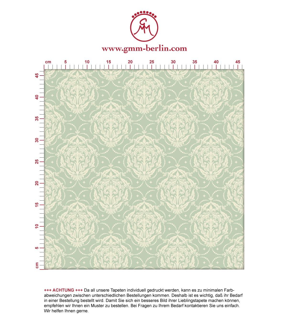 Mint Ornamenttapete My Castle Damast Muster, Design Tapete als Wandgestaltung 3